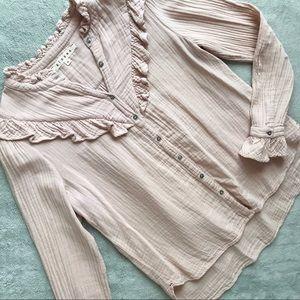Xirena Esmay Chelsea Gauze Prairie Shirt Blush XS